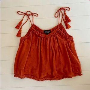Top Shop Burnt Orange Tassel Tie Crop Top Size 2